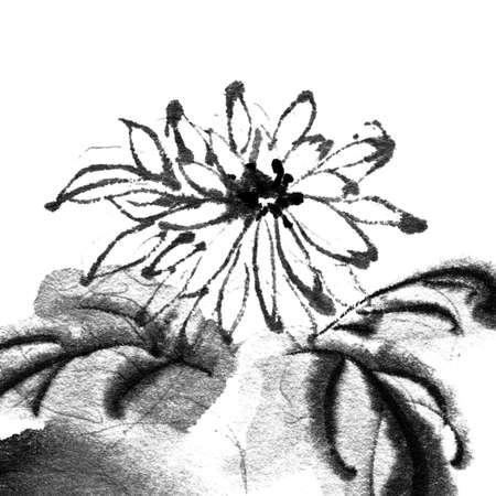flores chinas: Flor de la pintura en el estilo tradicional chino sobre fondo blanco. Foto de archivo