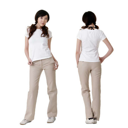 blank expression: Young beauty with blank white shirt, ready for your design or logo.