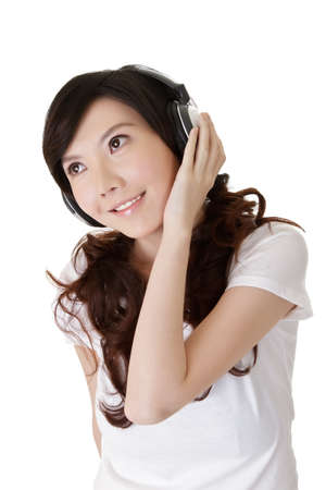 Closeup portrait of Chinese woman with headphone against white background. Stock Photo - 8952081