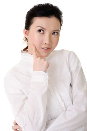deceitful: Cute business woman of Asian with funny and deceitful expression.