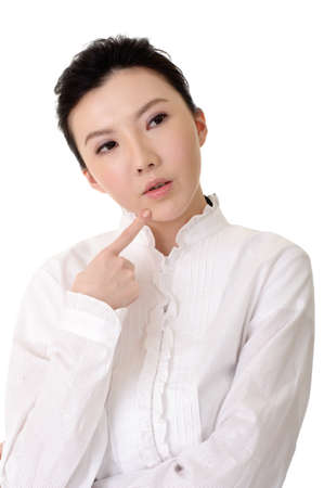 Chinese business woman thinking, closeup portrait over white background.