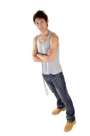 Handsome young man of Asian, full length portrait isolated over white. photo