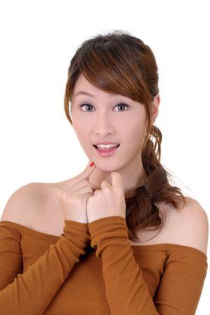 Surprised woman of Asian, closeup portrait on white background. Stock Photo - 8965858