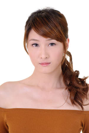 eastern asian: Asian beauty with sadness, closeup portrait on white background.