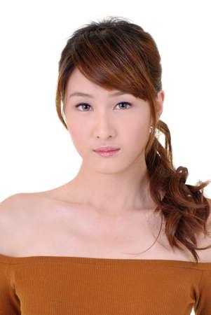 Asian beauty with sadness, closeup portrait on white background. photo