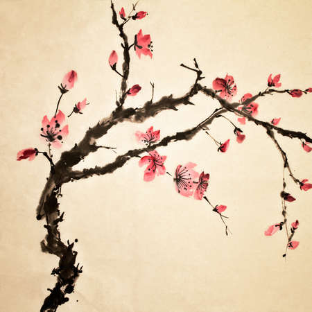 japanese culture: Chinese painting, traditional art  with flower in color on art paper. Stock Photo