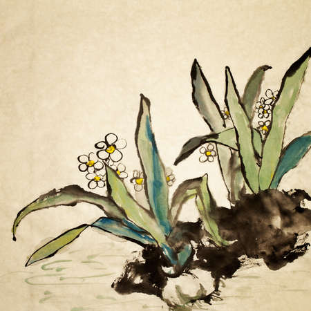 Chinese painting, traditional art  with flower in color on art paper. Stock Photo - 9001383