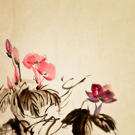 flores chinas: Pintura China, arte tradicional con flores de color en papel de arte.