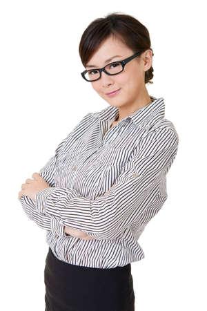 젊은 비즈니스 여자, 흰색 배경에 근접 촬영 초상화.