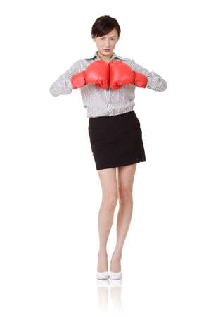 Boxing business woman of young Asian with angry expression, isolated on white. Stock Photo - 9041953