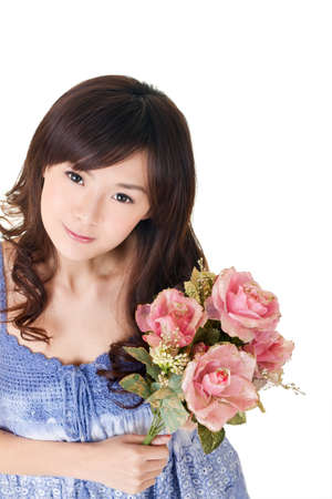china rose: Asian woman holding roses, closeup portrait on white background.