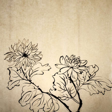 Chinese traditional ink painting on old art paper in grungy style.