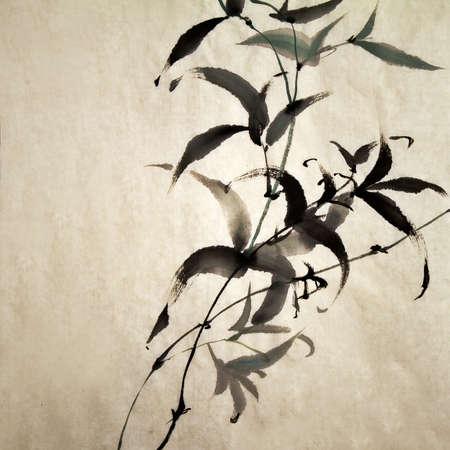 오래 된 그런 지 아트 종이에 대나무의 중국 잉크 그림. 스톡 콘텐츠