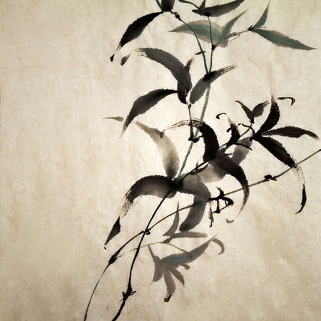 Chinese ink painting of bamboo on old grunge art paper.