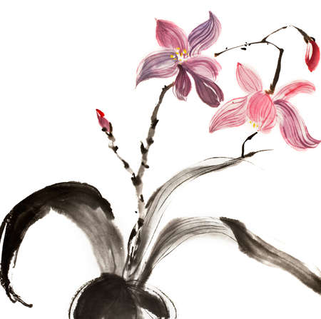 canvas element: Chinese traditional painting of red and purple flower on white background.