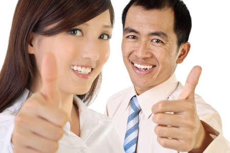 positive positivity: Smile businesspeople of Asian give you excellent gesture.