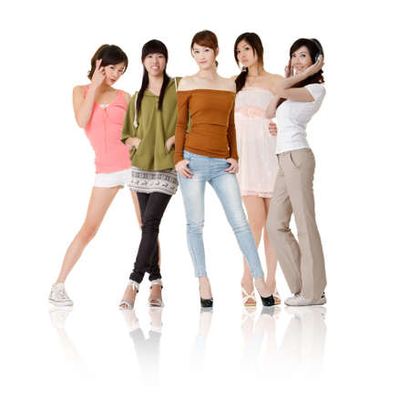 Group of Asian women, isolated on white background. photo