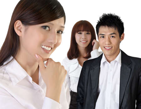 chinese business: Successful Asian business woman with her team.