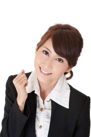 Cheerful business woman of Asian, closeup portrait on white. photo
