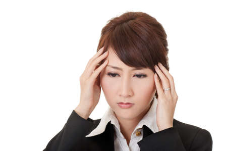 Business woman with headache, closeup portrait on white background. Stock Photo - 9113802