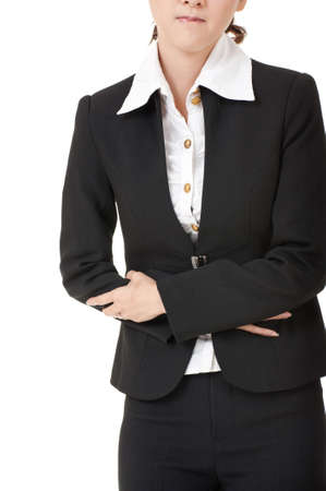Business woman with stomach issues, closeup portrait on white. Stock Photo - 9113843