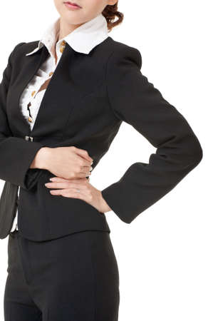 Business woman pressing her hands against her back, closeup portrait on white background. Stock Photo - 9113857