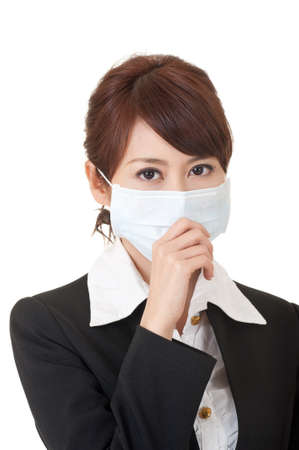sick girl: Business woman in protective mask, closeup portrait on white background.