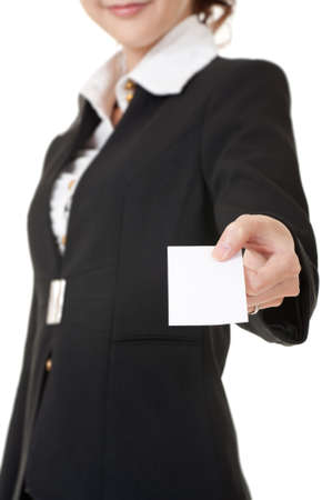 Successful business woman give you a blank card, closeup portrait. Stock Photo - 9113797
