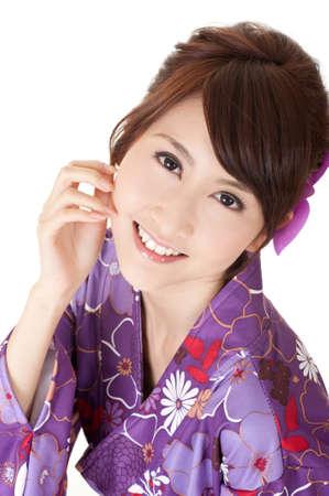 antique asian: Smiling Japaneses woman, closeup portrait of happy Asian beauty. Stock Photo