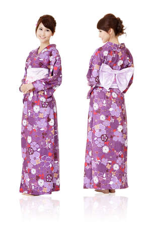 traditional clothes: Japanese woman in traditional clothes of Kimono with front and back view, full length portrait isolated on white background.