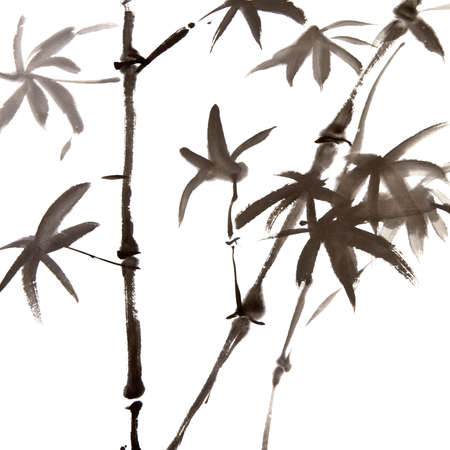 japan calligraphy: Chinese traditional ink painting of bamboo on white background.