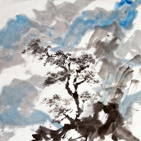 scenic: Chinese painting of traditional ink artwork of landscape with mountains and pine tree. Stock Photo
