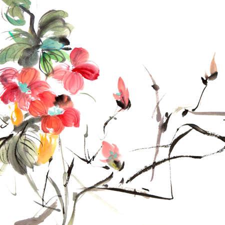 백색 아트지에 화려한 꽃과 잉크 아트웍의 중국 전통 회화.