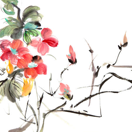 japanese culture: Chinese traditional painting of ink artwork with colorful flowers on white art paper.