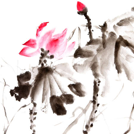 chinese calligraphy: Lotus, Chinese traditional ink painting artwork with color. Stock Photo