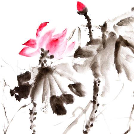 Lotus, le chinois traditionnel art peinture à l'encre de couleur.