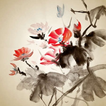 japanese art: Chinese painting of morning glory, traditional artwork on art paper.