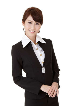 Smart business woman of Asian smiling, half length closeup portrait on white background. photo