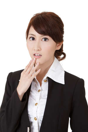Surprised young business woman of Asian, half length closeup portrait on white background. photo