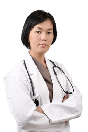 practitioner: Medicine doctor of mature Asian woman, half length closeup portrait on white background.