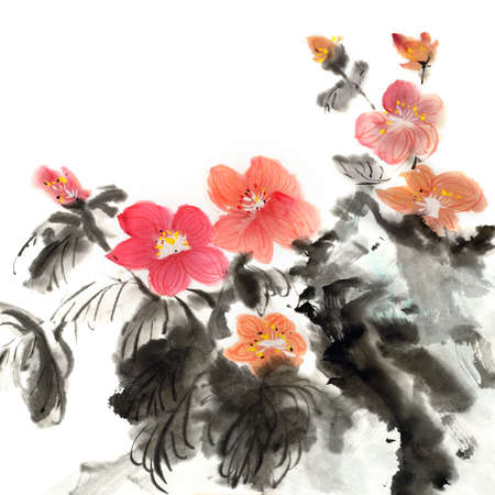 Colorful Chinese painting, traditional ink artwork of flowers on white background.
