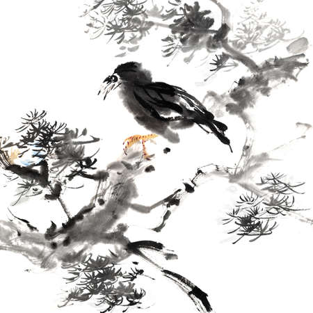 Chinese painting of bird, traditional ink artwork with animal in forest on white background. photo