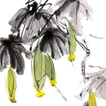 다채로운 중국어 회화, 흰색 배경에 꽃의 전통적인 잉크 작품.