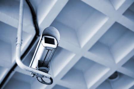Video security camera inside of modern buildings.