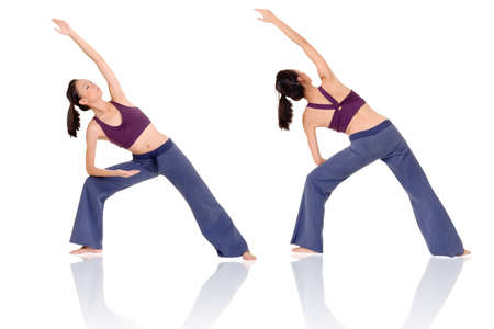 Asian woman of fitness doing expert yoga pose in front and rear view, full length portrait isolated on white background. photo