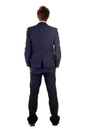 cuerpo completo: Hombre de negocio en vista posterior, retrato de longitud completa aislada sobre fondo blanco. Foto de archivo