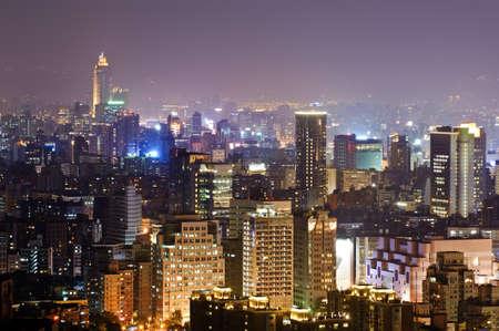 Colorful city night scene with light in Taipei, Taiwan, Asia. Stock Photo - 9375405