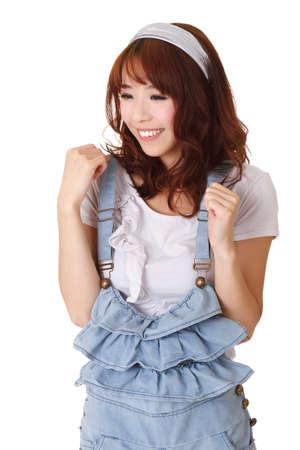 excitacion: Chica China emocionante, retrato de detalle de longitud media sobre fondo blanco. Foto de archivo
