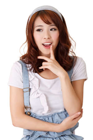 Smart girl thinking, half length closeup portrait on white background.