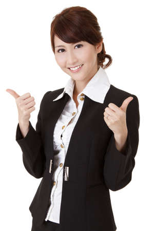 Smiling business woman give you successful double excellent gesture, half length closeup portrait on white background.